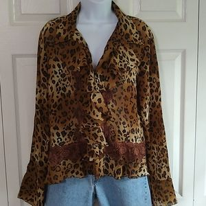 Allison Tylor leapard top size large